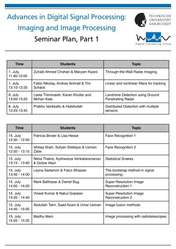 Imaging and Image Processing Seminar Plan, Part 1