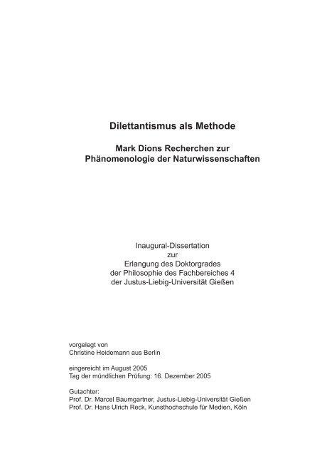 Dilettantismus Als Methode Giessener Elektronische Bibliothek