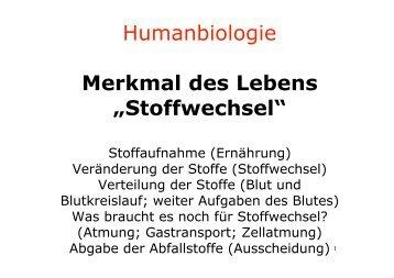 """Humanbiologie Merkmal des Lebens """"Stoffwechsel"""" - kantik"""