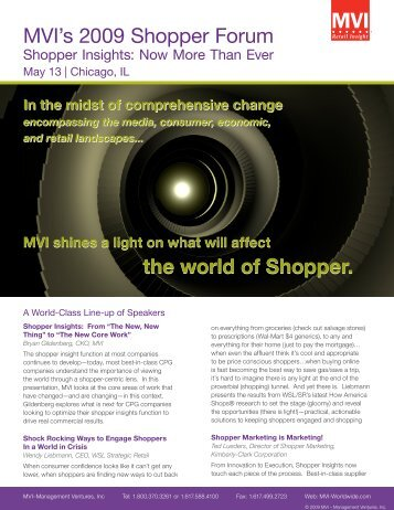 MVI's 2009 Shopper Forum the world of Shopper ... - Kantar Retail iQ