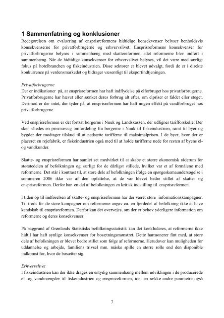 Redegørelse om evaluering af ensprisreformens ... - Inatsisartut