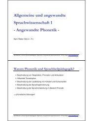 Angewandte Phonetik - Dr. Karin Reber