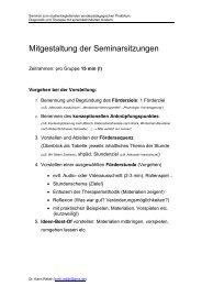 Mitgestaltung der Seminarsitzungen - Dr. Karin Reber