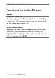 Folien zur Therapie phonetischer Störungen - Dr. Karin Reber