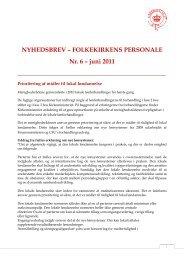 NYHEDSBREV – FOLKEKIRKENS PERSONALE Nr. 6 – juni 2011