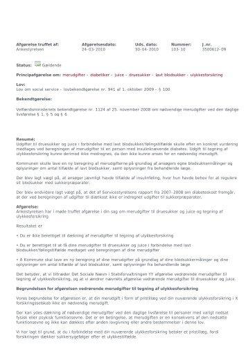 afgørelser om juice og druesukker - Diabetes.dk