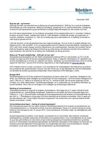 Nyhedsbrev (PDF) - Administrationen på AAU - Aalborg Universitet