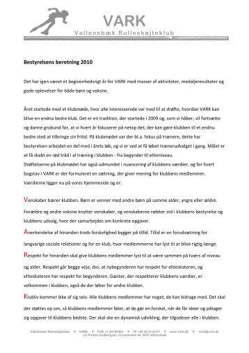 formandens beretning for 2010 - Vallensbæk Rulleskøjteklub