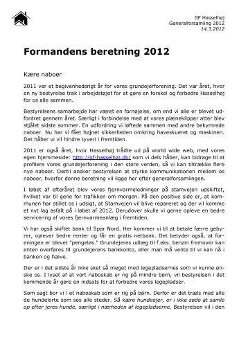 Formandens beretning 2012 - Velkommen til Grundejerforeningen G ...