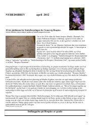 NYHEDSBREV april 2012 - Støtteforeningen for Svanevig Hospice