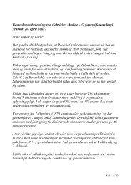 Bestyrelsens beretning ved Fabricius Marine A/S ... - erria