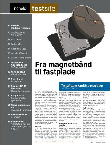 Fra magnetbånd til fastplade Test af store Harddisk ... - Soundcheck