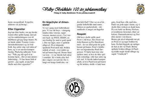 Valby Boldklubs 100 års jubilæumstillæg Valby Boldklubs 100 års ...