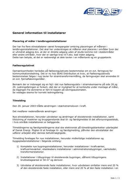 Generel information til installatører - SEAS-NVE