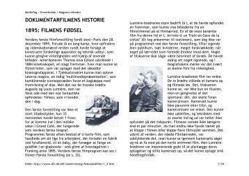 DOKUMENTARFILMENS HISTORIE 1895: FILMENS ... - Civilisatorik
