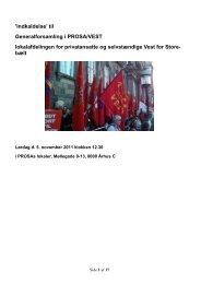 'Indkaldelse' til Generalforsamling i PROSA/VEST lokalafdelingen ...