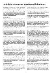 Almindelige bestemmelser for deltagelse i ferierejser mv. - Spies