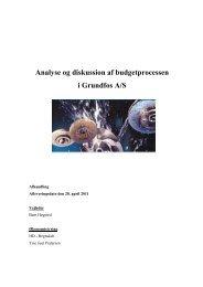 Analyse og diskussion af budgetprocessen i Grundfos A/S - PURE