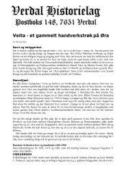 Veita - et gammelt handverkstrøk på Øra - Verdal historielag