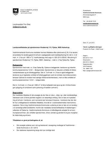 Etablering af erhverv - Oplagsplads samt lastbilparkering