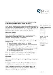 Dispensation til rydning, genoptagelse af drift og ... - Billund Kommune