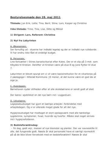 Referat af bestyrelsesmøde d.28.5.11