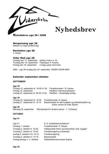 Nyhedsbrev - Vidar Skolen