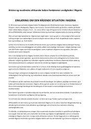 Afrikanske ledere, kristne og muslimer, opfordrer i ... - Mission Afrika