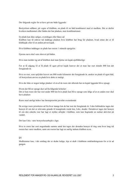 ARK's Reglement - Amager Ro- og Kajakklub