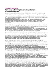 Personlig udvikling i overhalingsbanen - Foreningen for ...