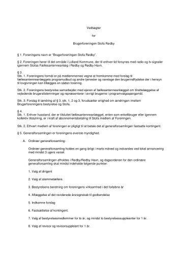 Vedtægter for Brugerforeningen Stofa Rødby § 1. Foreningens navn ...