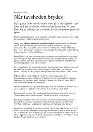 Download pressemeddelelse i PDF - NÅR TAVSHEDEN BRYDES