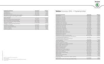 Škoda Roomster 2010--> Tilbehørsprisliste - skoda.dk