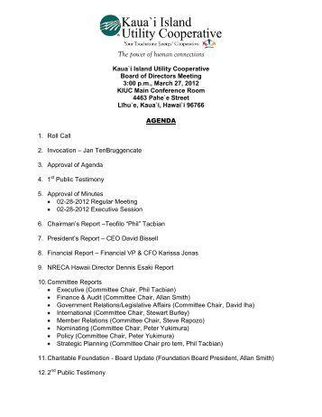 Agenda - Kauai Island Utility Cooperative