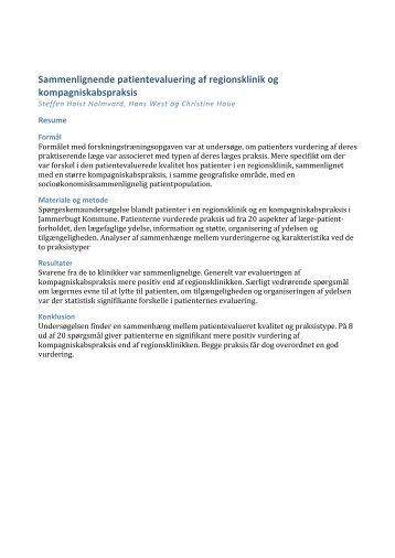 Sammenlignende patientevaluering af regionsklinik og ...