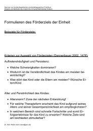 Auswahl und Formulierung eines Förderziels - Dr. Karin Reber
