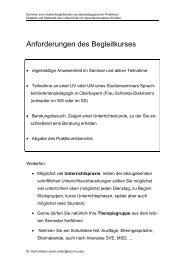 Anforderungen des Begleitkurses - Dr. Karin Reber