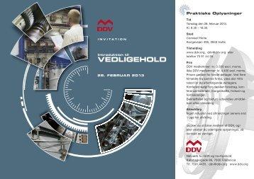 VEDLIGEHOLD - DDV