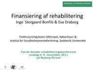 Finansiering af rehabilitering v. Inge Bonfils og Eva Draborg