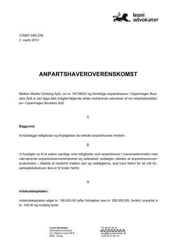ANPARTSHAVEROVERENSKOMST - Copenhagen Boulders