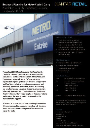Business Planning for Metro Cash & Carry - Kantar Retail iQ