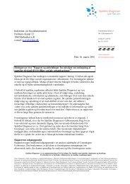 Høringssvar over Rapport og anbefalinger fra udvalget om