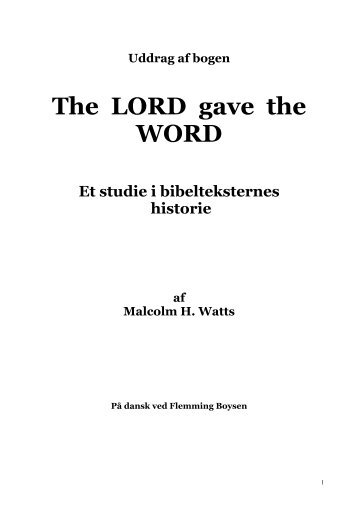 The LORD gave the WORD - The Spirit of Prophecy Publications