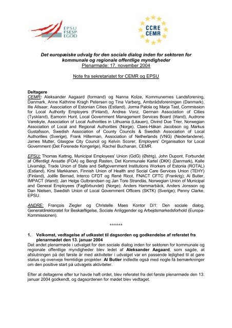 Det europæiske udvalg for den sociale dialog inden for ... - EPSU