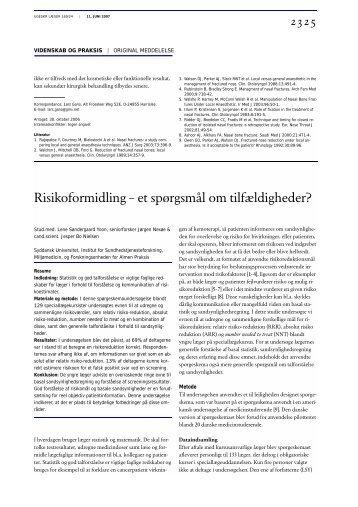 Risikoformidling – et spørgsmål om tilfældigheder? - Ugeskrift for ...