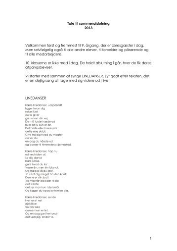1 Tale til sommerafslutning 2013 Velkommen først ... - N. Kochs Skole