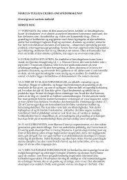 MARCUS TULLIUS CICERO: OM SPÅDOMSKUNST Oversigt over ...