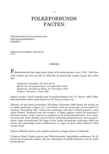 Folkeforbundspagten - Det danske Fredsakademi