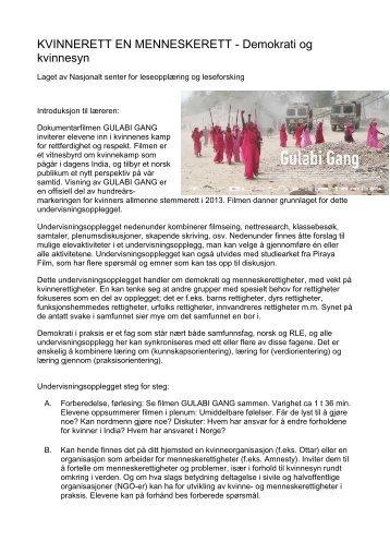 KVINNERETT EN MENNESKERETT - Demokrati og ... - Lesesenteret