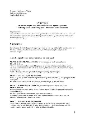 Drama - Lesesenteret - Universitetet i Stavanger